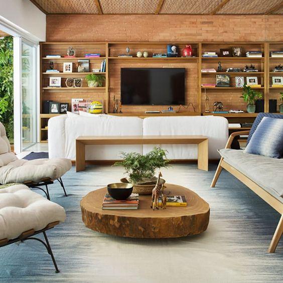decoração da sala com madeira