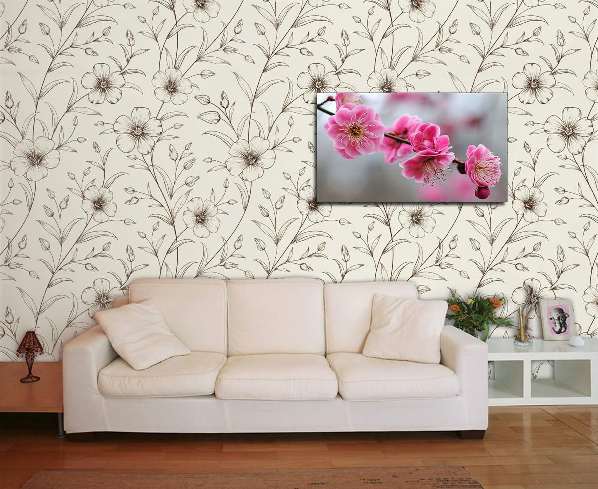 decoração de sala com papel de parede de flor
