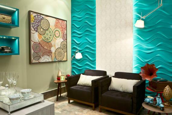 decoração de sala com parede textura ondas