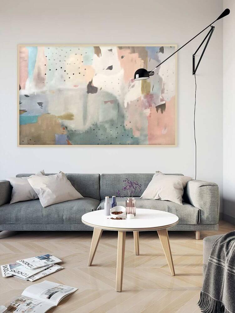 decoração de sala com quadros abstrato grande