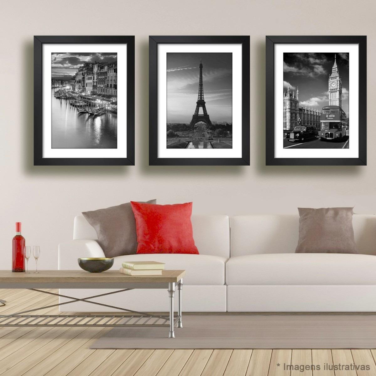 decoração de sala com quadros com imagem de cidade